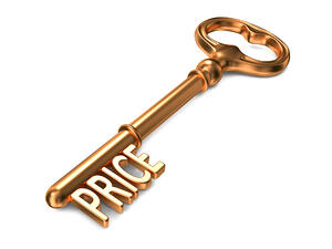 Price - Golden Key on White Background. 3D Render. Business Concept.
